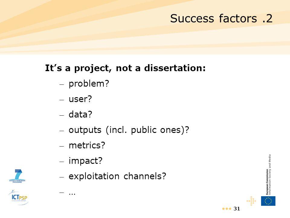 Success factors .2 It's a project, not a dissertation: problem user