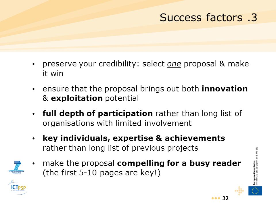 Success factors .3 preserve your credibility: select one proposal & make it win.