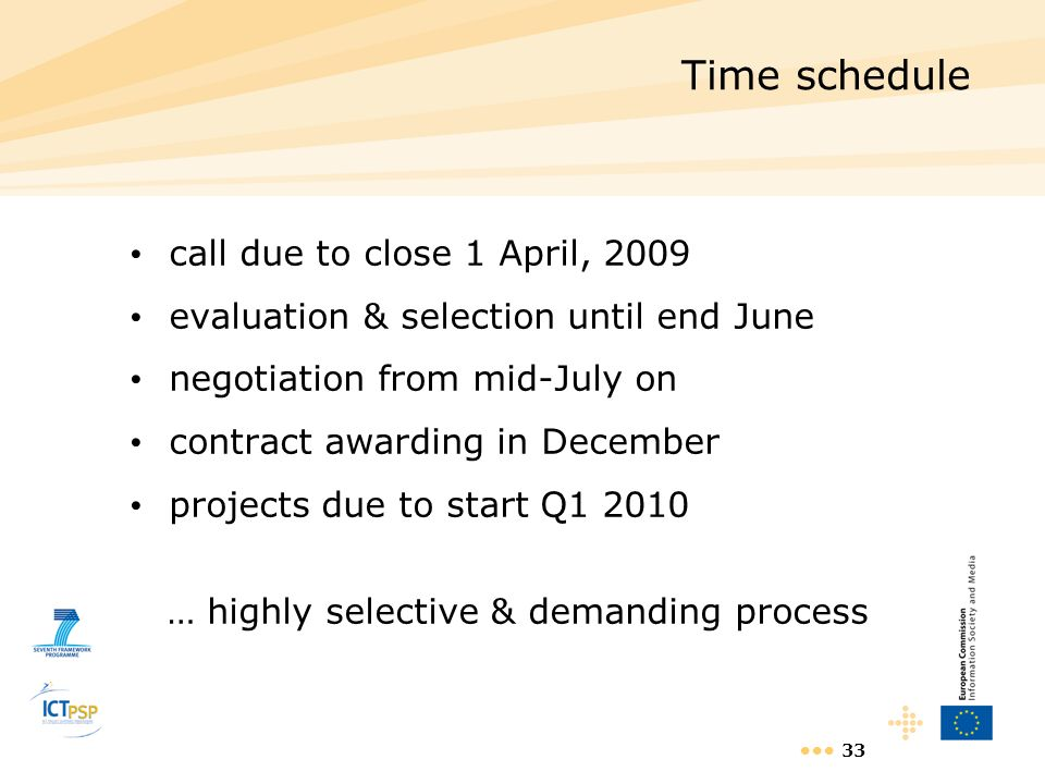 Time schedule call due to close 1 April, 2009