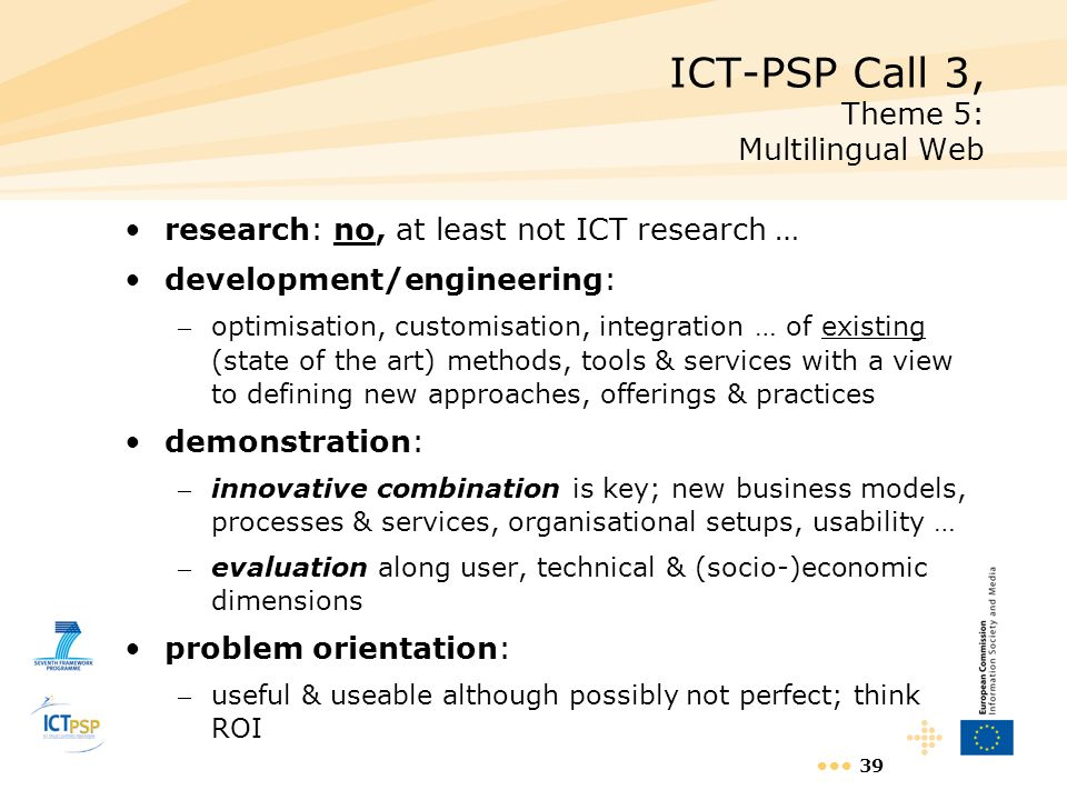 ICT-PSP Call 3, Theme 5: Multilingual Web