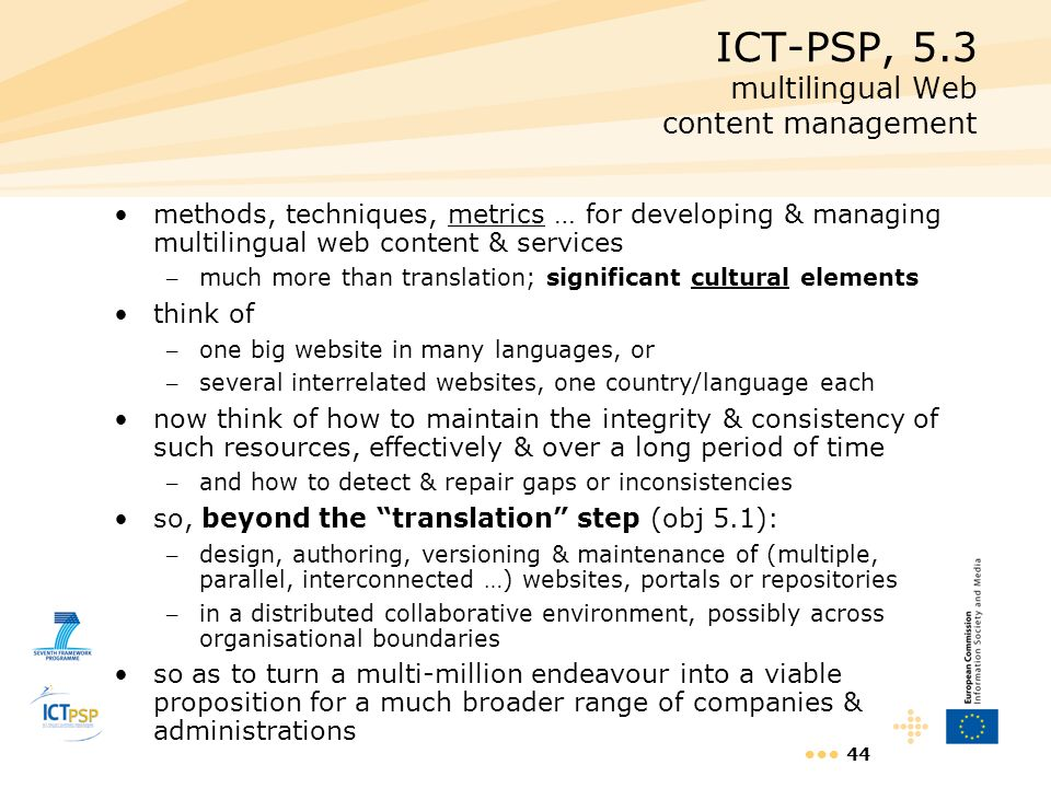 ICT-PSP, 5.3 multilingual Web content management