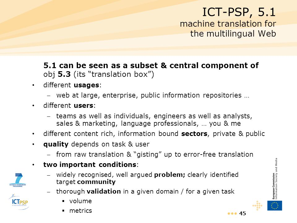 ICT-PSP, 5.1 machine translation for the multilingual Web