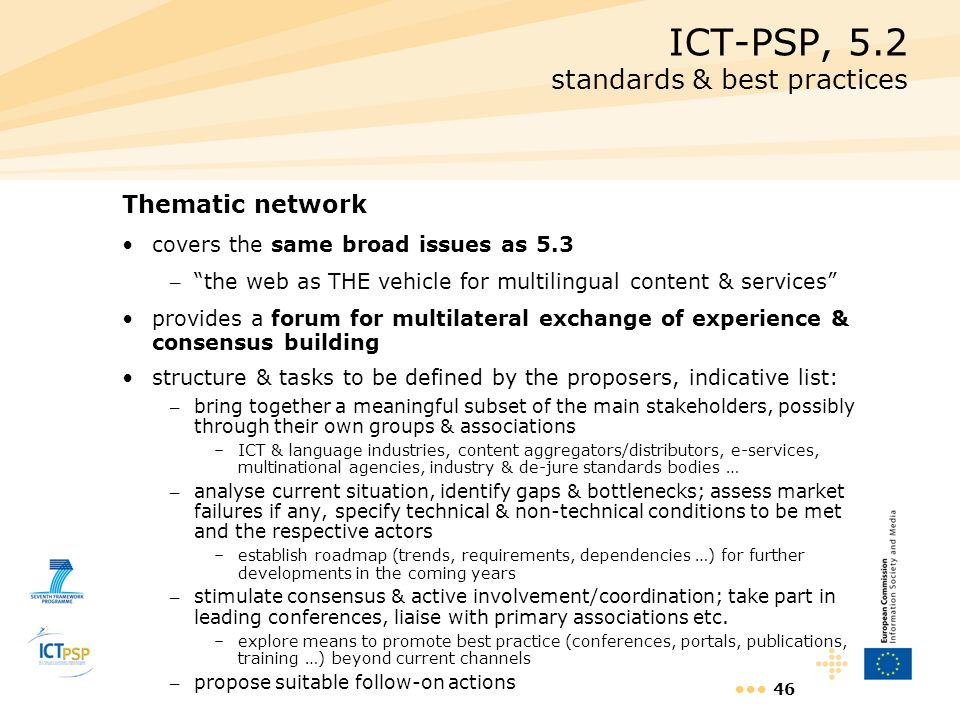 ICT-PSP, 5.2 standards & best practices