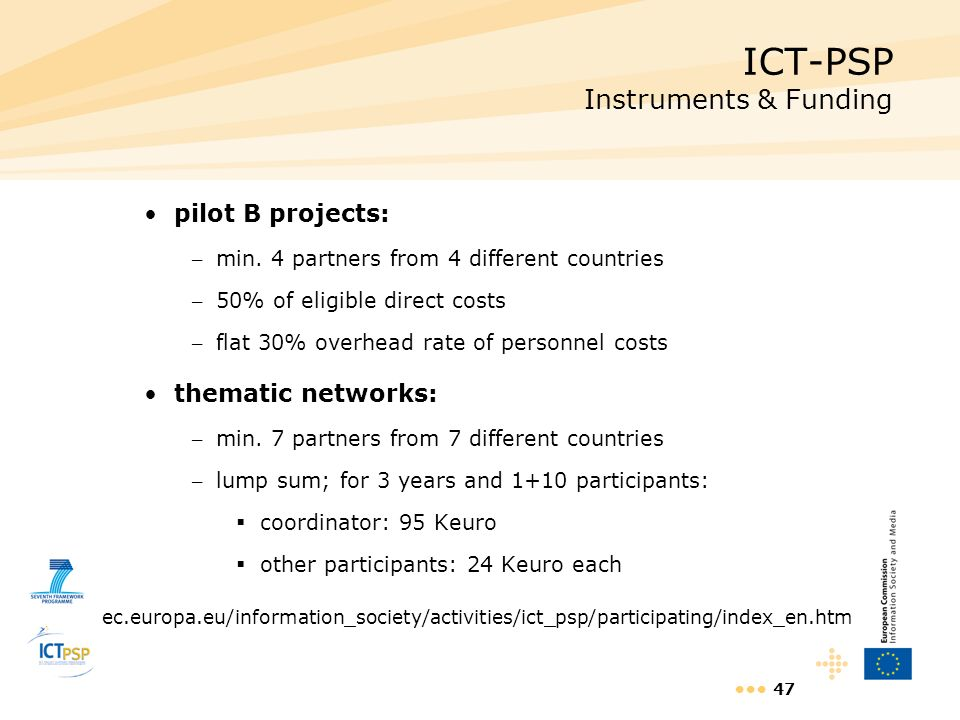 ICT-PSP Instruments & Funding