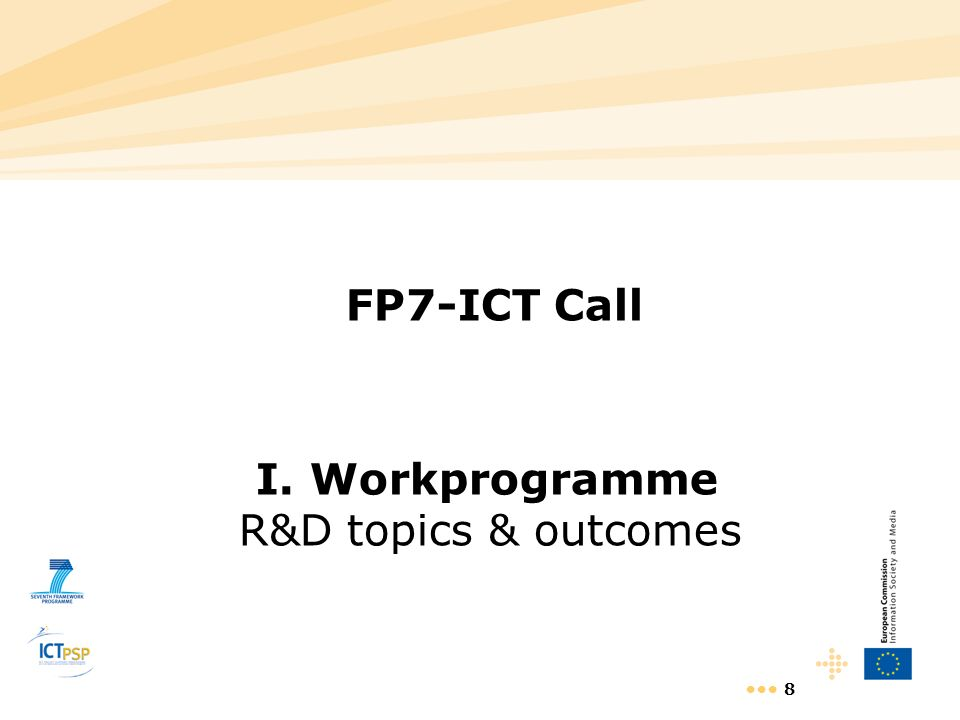 I. Workprogramme R&D topics & outcomes