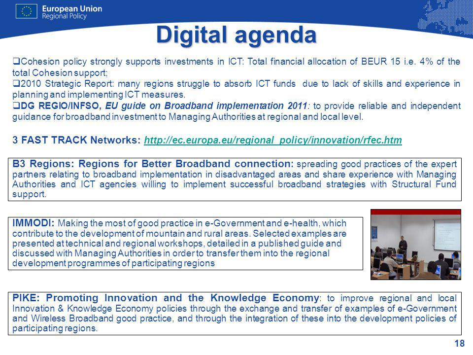 Digital agenda Cohesion policy strongly supports investments in ICT: Total financial allocation of BEUR 15 i.e. 4% of the total Cohesion support;