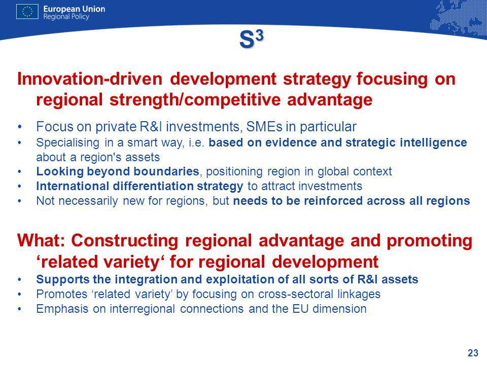 S3 Innovation-driven development strategy focusing on regional strength/competitive advantage. Focus on private R&I investments, SMEs in particular.