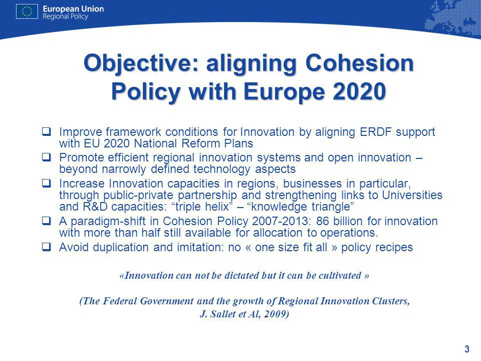 Objective: aligning Cohesion Policy with Europe 2020