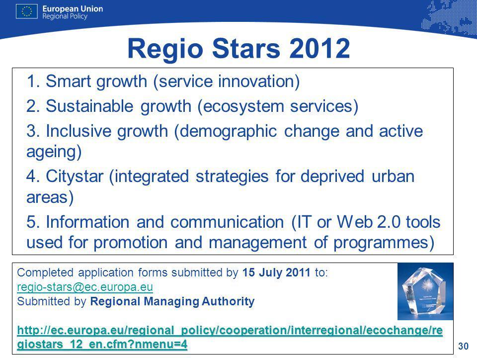 Regio Stars 2012 1. Smart growth (service innovation)