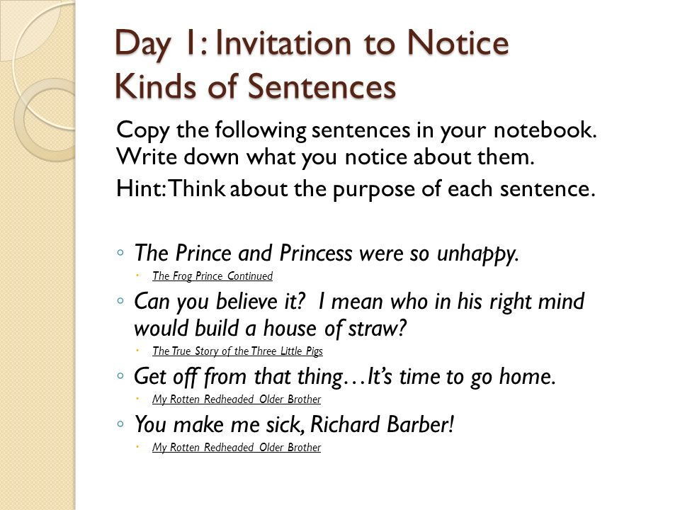 Day 1 invitation to notice kinds of sentences ppt video online day 1 invitation to notice kinds of sentences stopboris Gallery