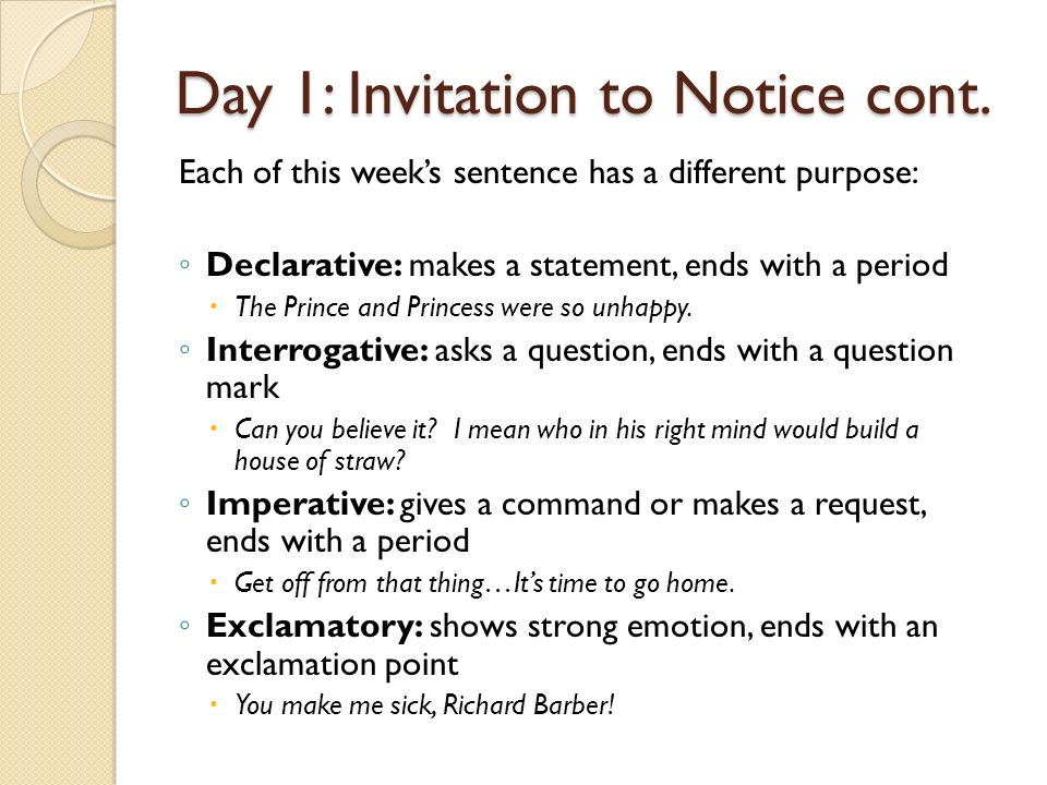 Day 1 invitation to notice kinds of sentences ppt video online day 1 invitation to notice cont stopboris Image collections