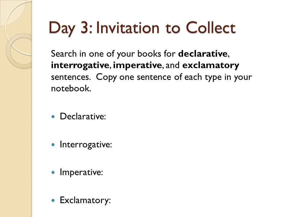 Day 1 invitation to notice kinds of sentences ppt video online day 3 invitation to collect stopboris Image collections