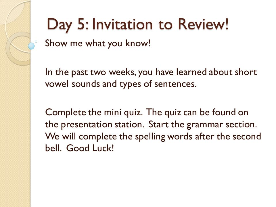 Day 1 invitation to notice kinds of sentences ppt video online day 5 invitation to review stopboris Image collections