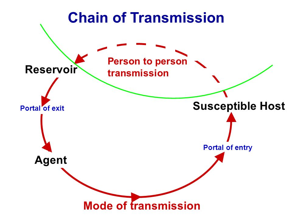 Chain of Transmission Reservoir Susceptible Host Agent