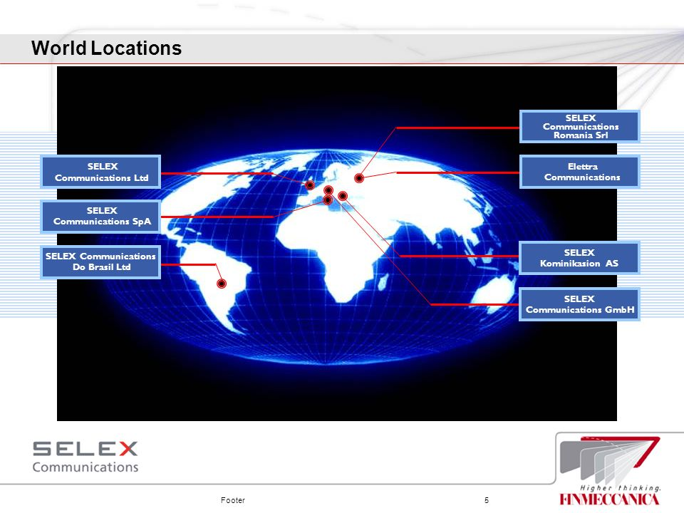 World Locations SELEX Communications Romania Srl SELEX Elettra