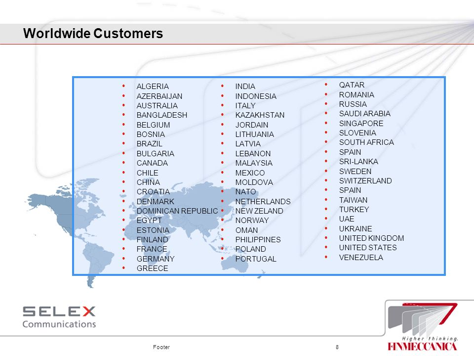 Worldwide Customers ALGERIA AZERBAIJAN AUSTRALIA BANGLADESH BELGIUM