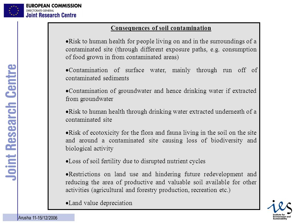 Consequences of soil contamination
