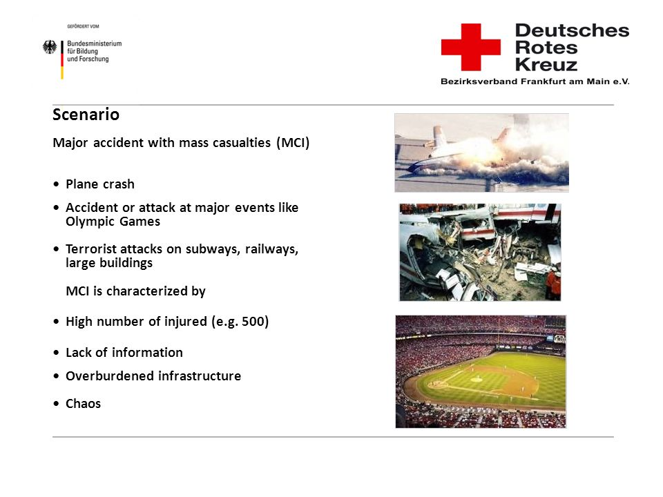 Scenario Major accident with mass casualties (MCI) • Plane crash. • Accident or attack at major events like.