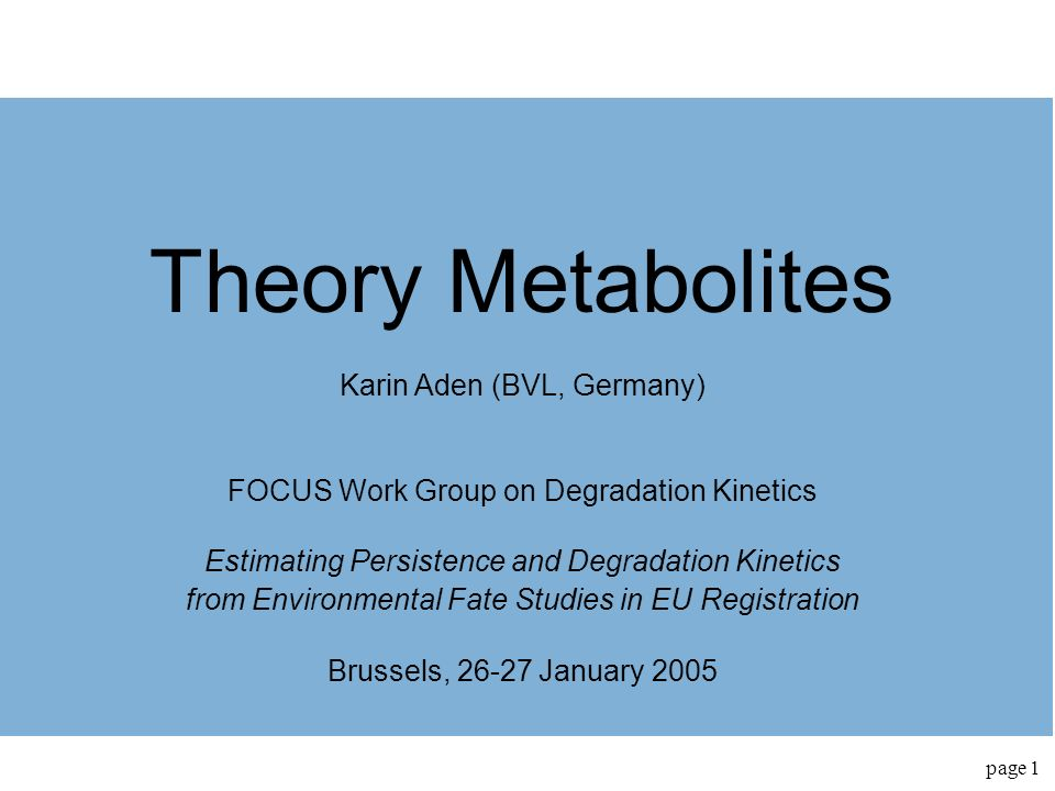 Theory Metabolites Karin Aden (BVL, Germany)