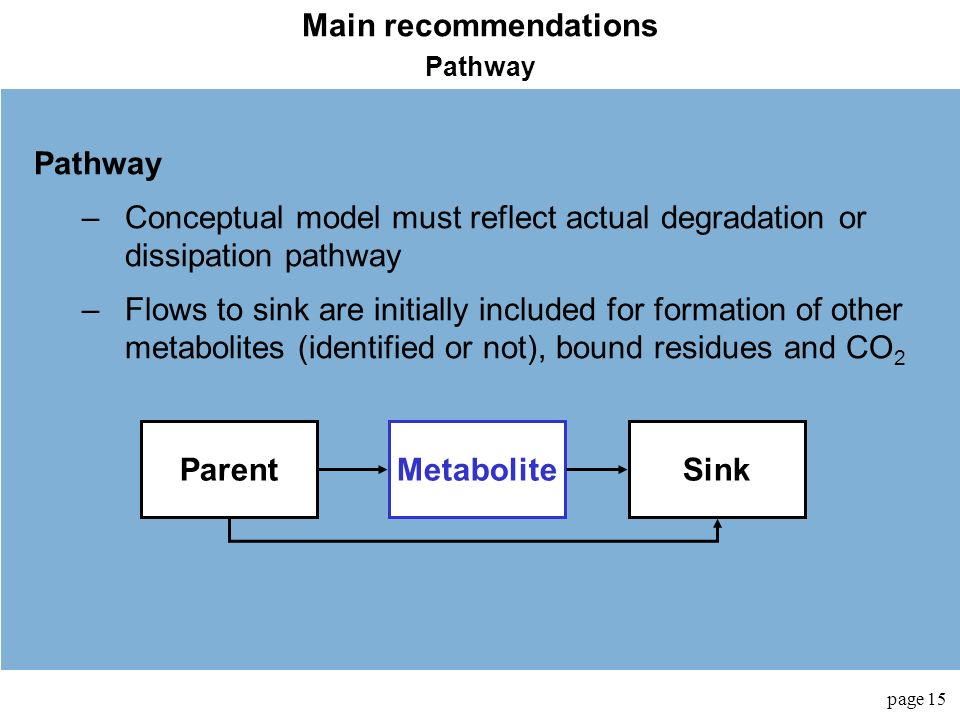 Main recommendations Parent Metabolite Sink