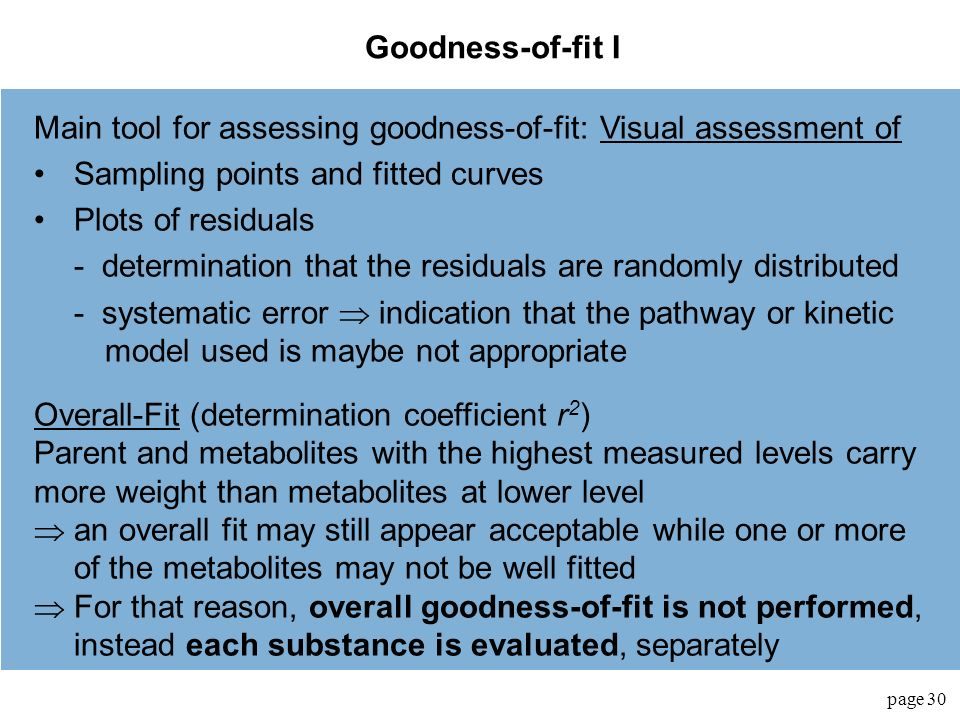 Main tool for assessing goodness-of-fit: Visual assessment of
