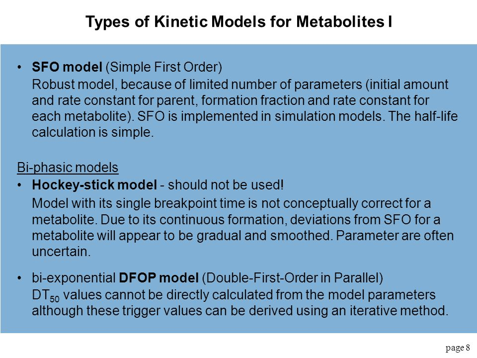 Types of Kinetic Models for Metabolites I