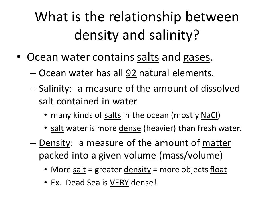 relationship between ocean water temperature salinity density