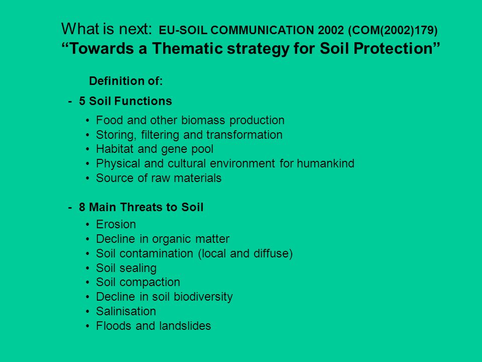 What is next: EU-SOIL COMMUNICATION 2002 (COM(2002)179)