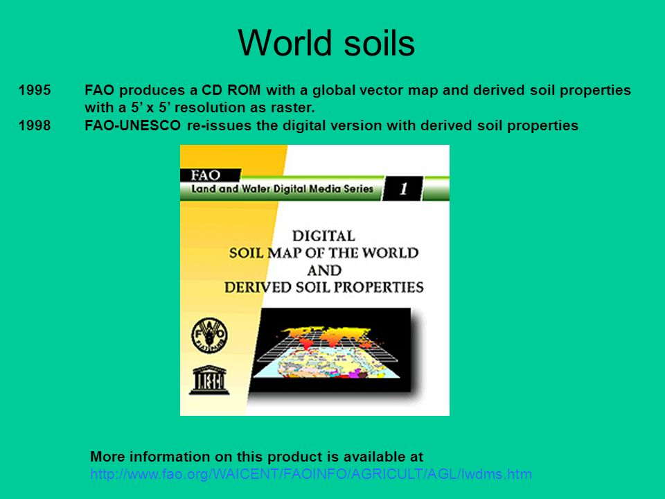 World soils 1995 FAO produces a CD ROM with a global vector map and derived soil properties with a 5' x 5' resolution as raster.