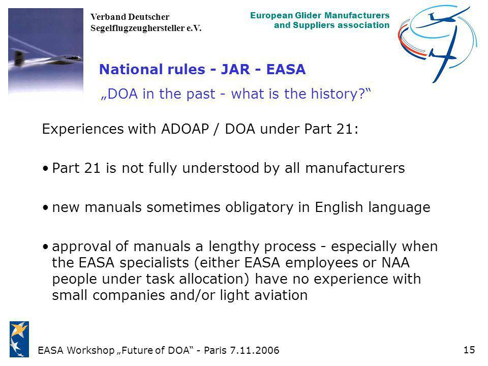 """National rules - JAR - EASA """"DOA in the past - what is the history"""