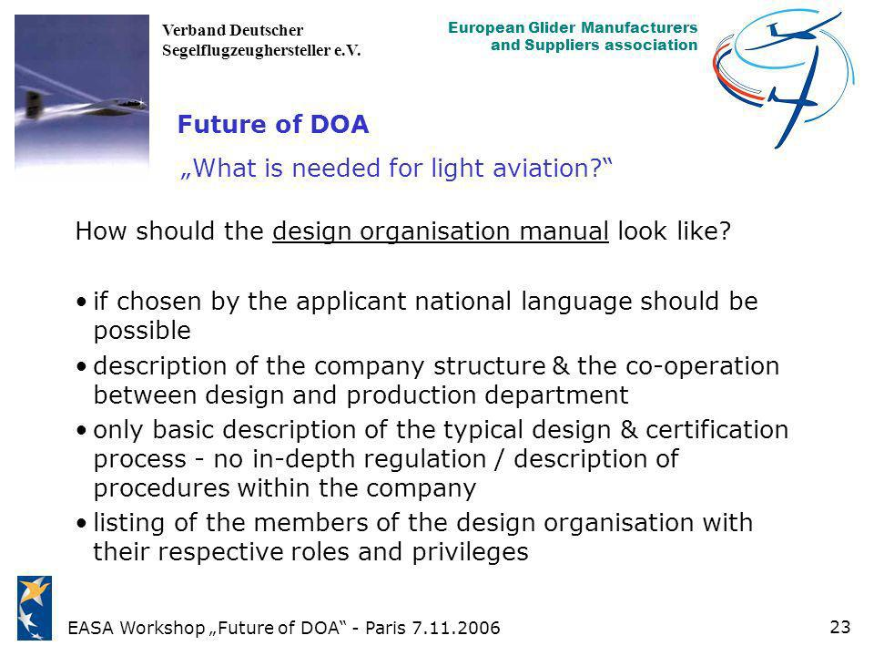"""Future of DOA """"What is needed for light aviation"""