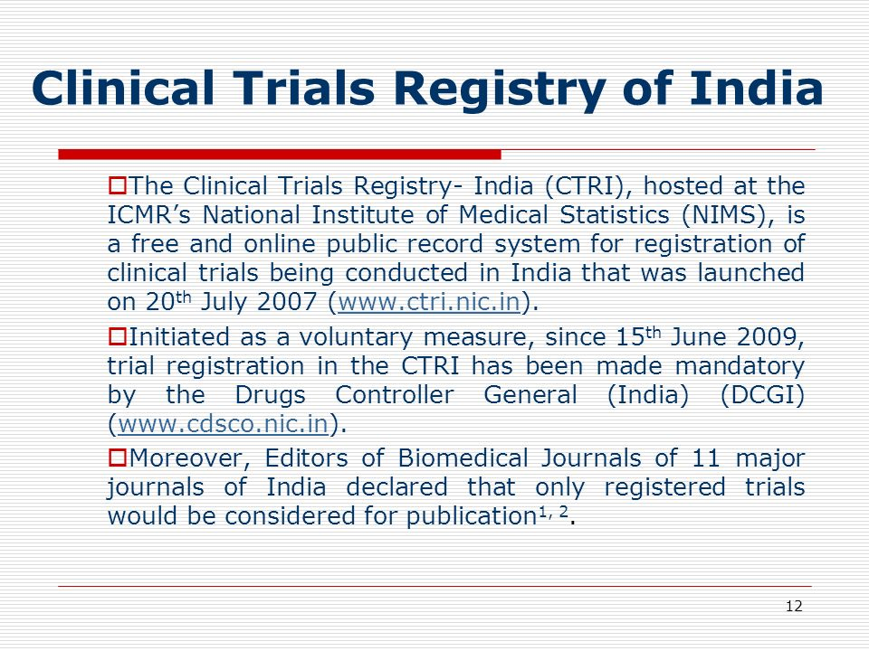 Clinical Trials Registry of India