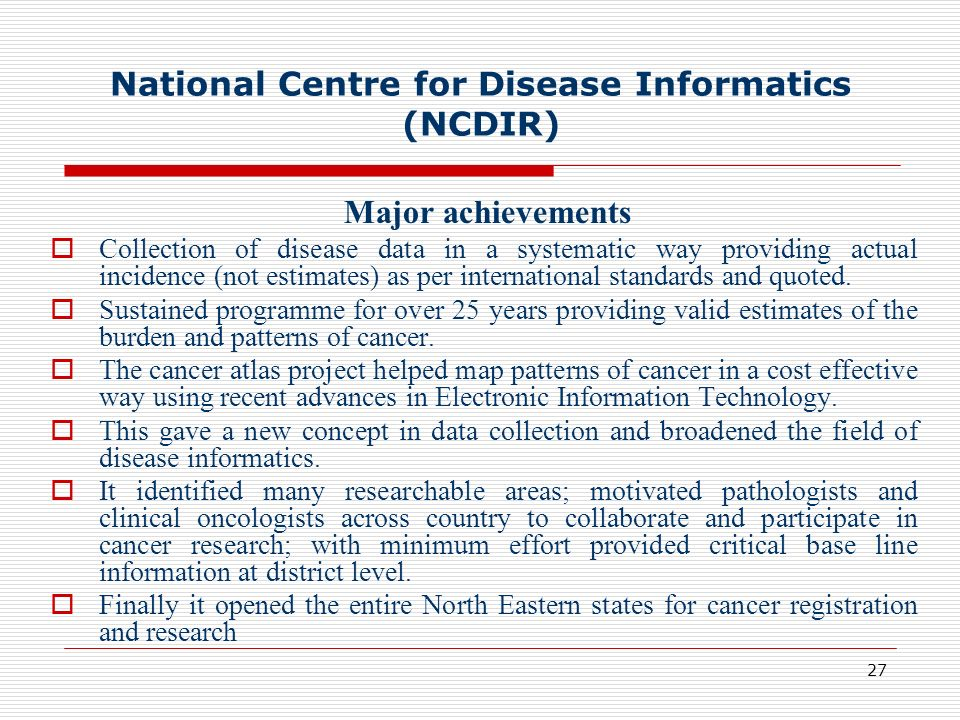 National Centre for Disease Informatics (NCDIR)