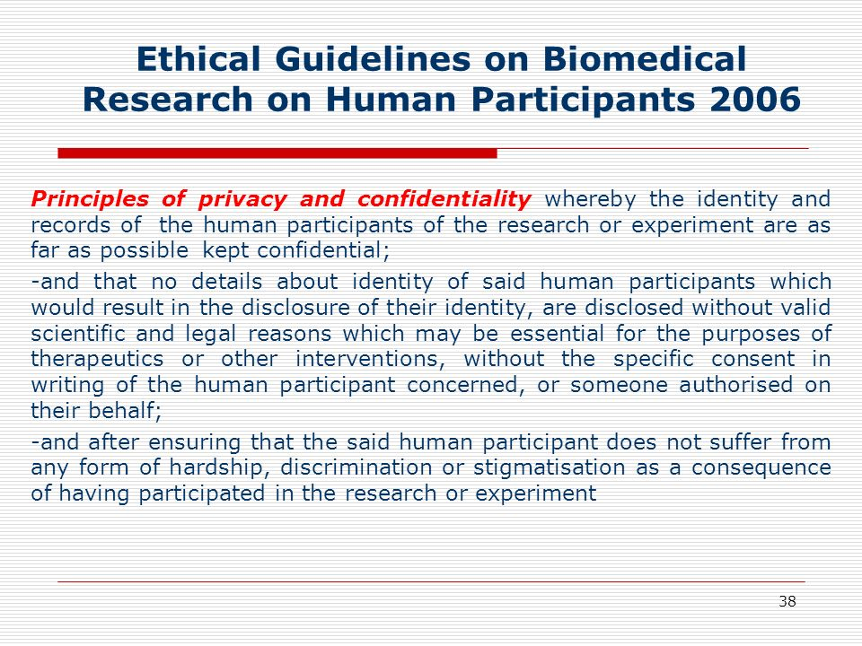 Ethical Guidelines on Biomedical Research on Human Participants 2006