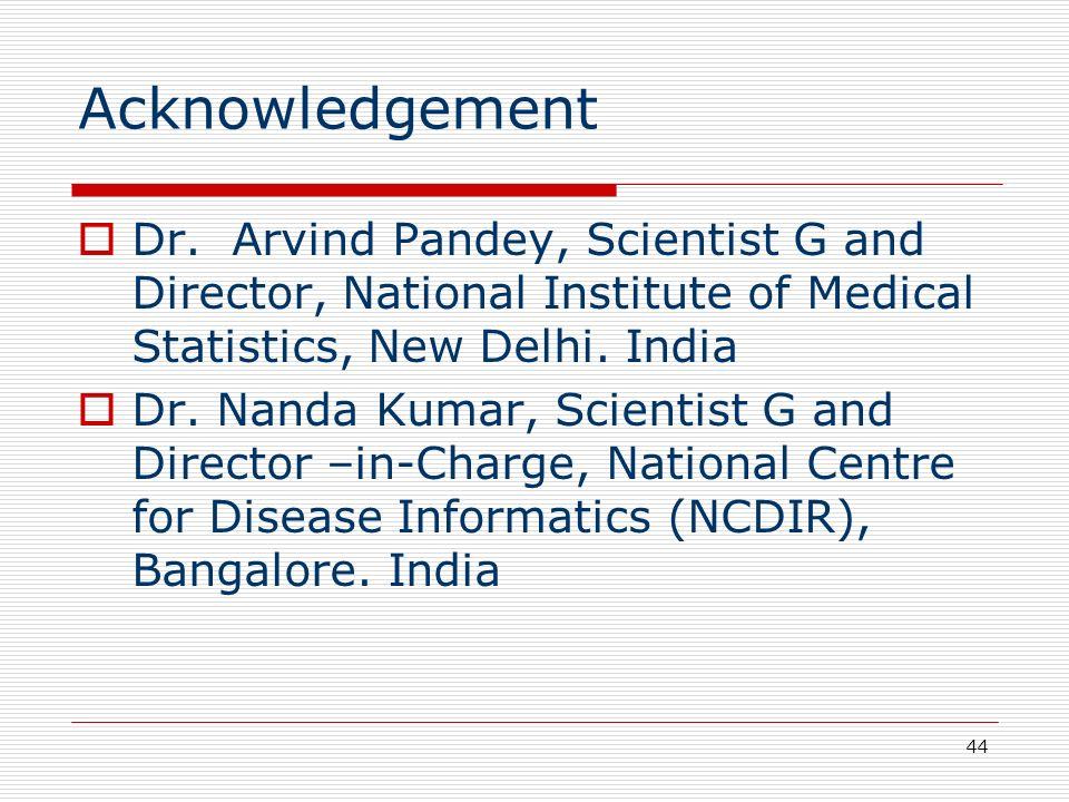 Acknowledgement Dr. Arvind Pandey, Scientist G and Director, National Institute of Medical Statistics, New Delhi. India.