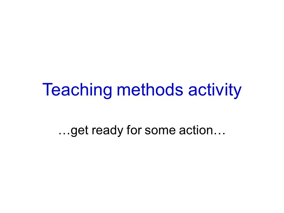 Teaching methods activity