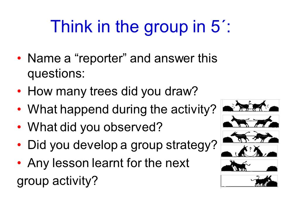 Think in the group in 5´: Name a reporter and answer this questions:
