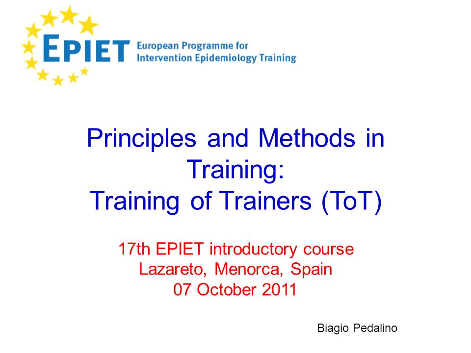 Principles and Methods in Training: Training of Trainers (ToT)