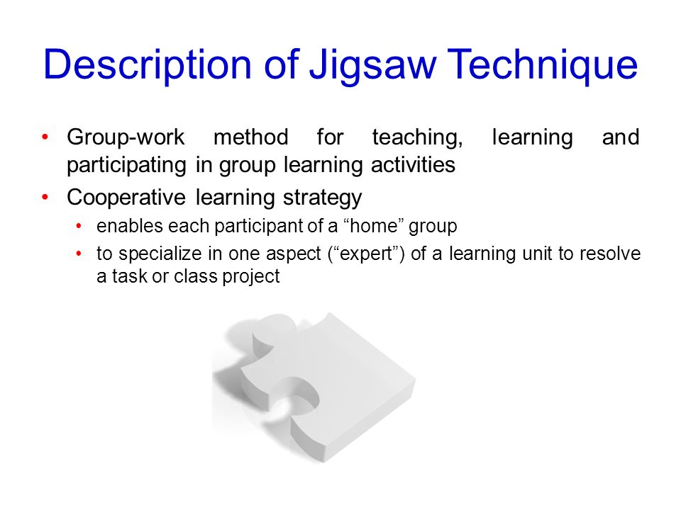 Description of Jigsaw Technique