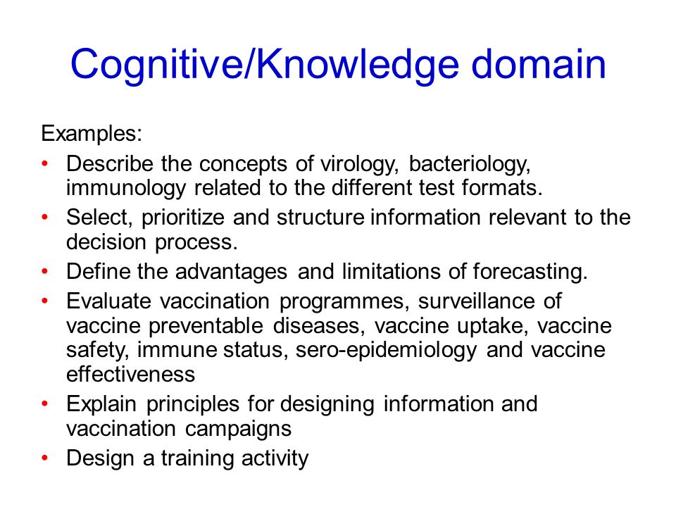 Cognitive/Knowledge domain