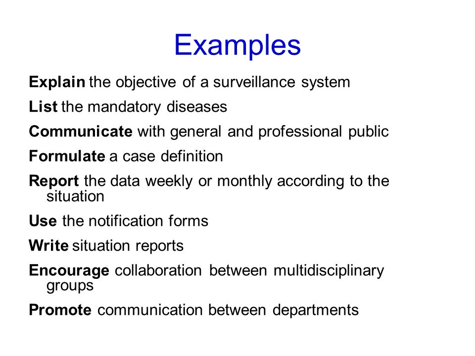 Examples Explain the objective of a surveillance system
