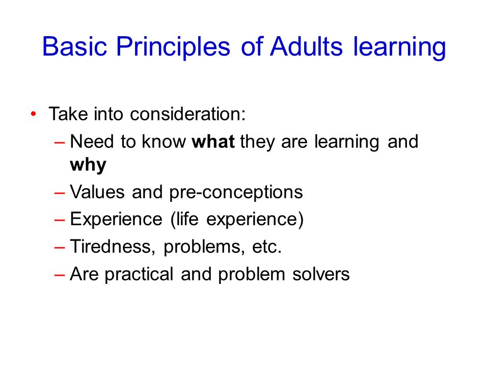 Basic Principles of Adults learning