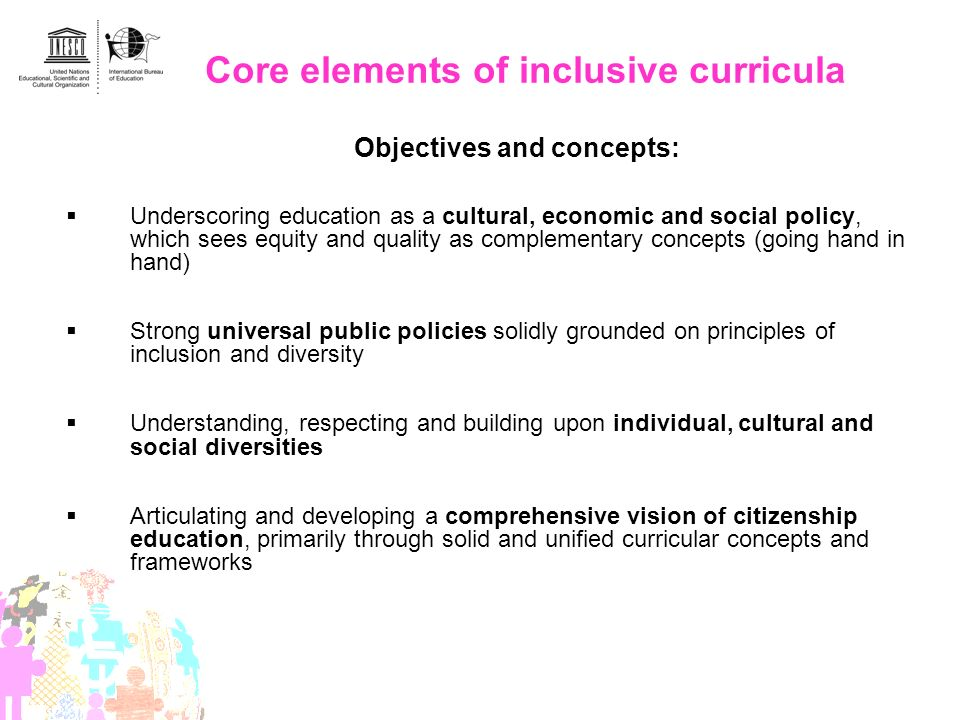 Core elements of inclusive curricula