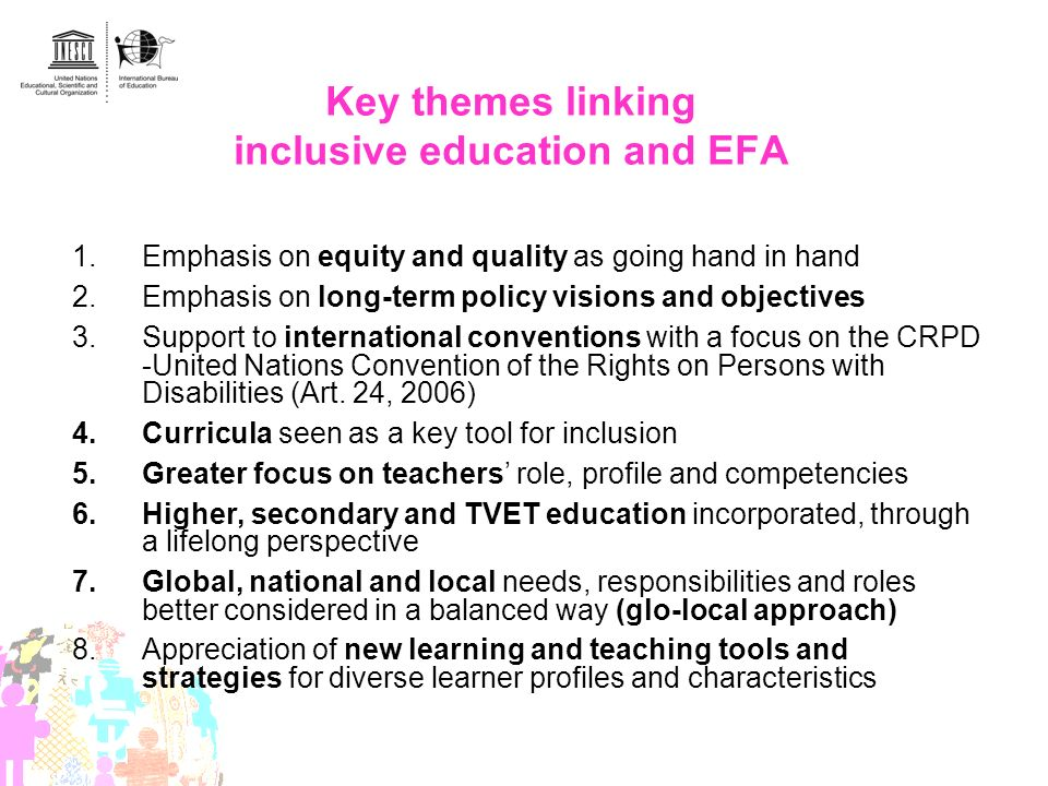 Key themes linking inclusive education and EFA