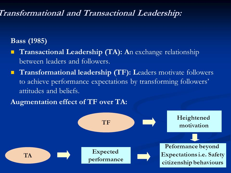 Transformational and Transactional Leadership:
