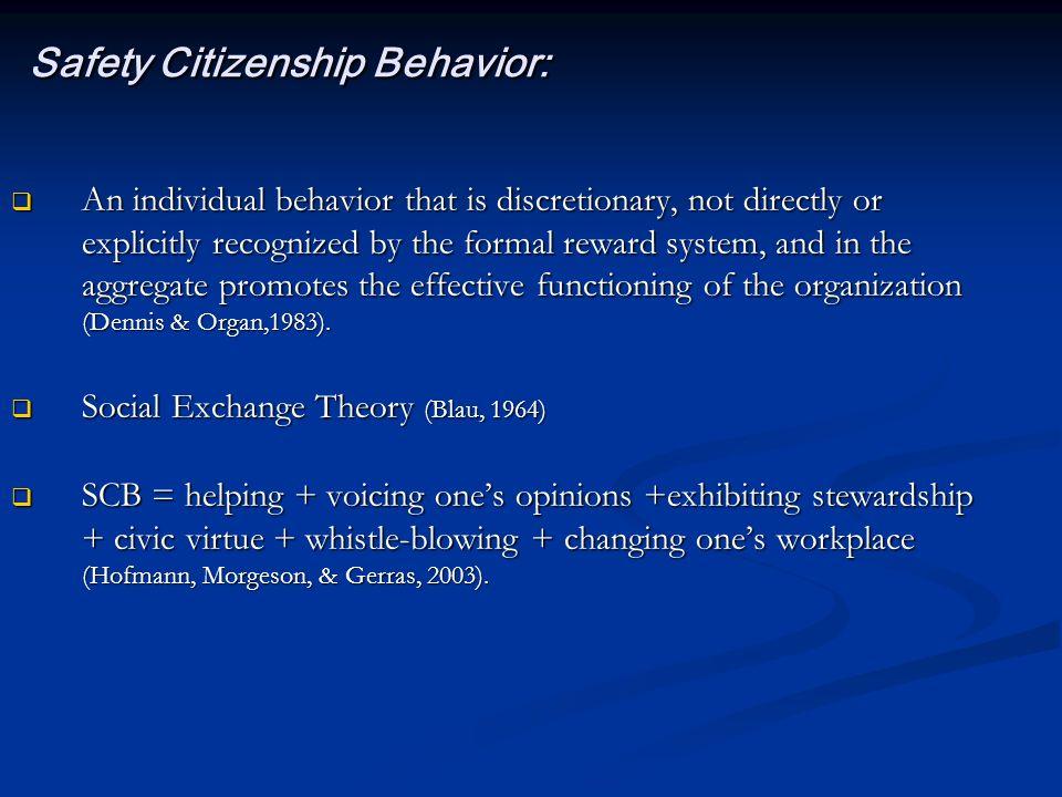 Safety Citizenship Behavior: