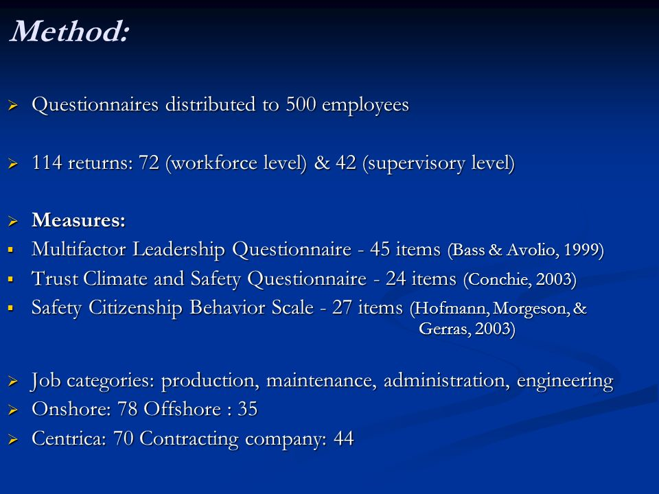 Method: Questionnaires distributed to 500 employees