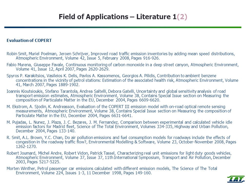 Field of Applications – Literature 1(2)