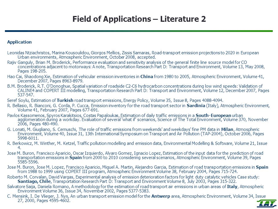 Field of Applications – Literature 2