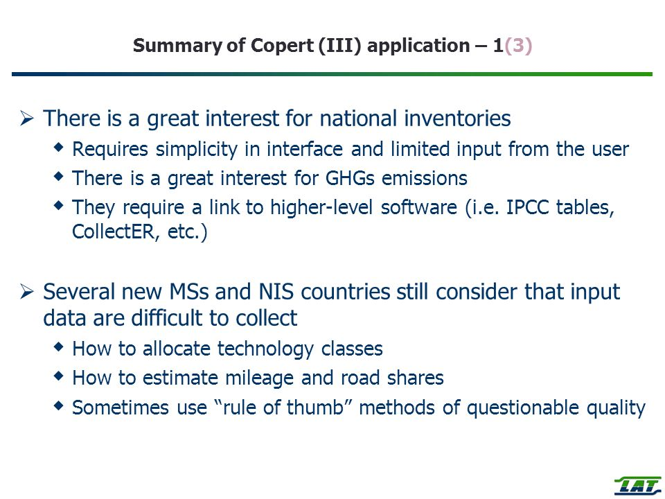 Summary of Copert (III) application – 1(3)